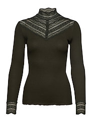 Silk t-shirt regular ls w/wide lace - BLACK GREEN