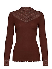 Silk t-shirt regular ls w/wide lace - CHOCOLATE FONDANT