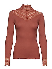 Silk t-shirt regular ls w/wide lace - COPPER BROWN