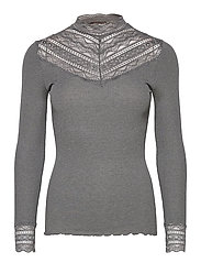 Silk t-shirt regular ls w/wide lace - DARK GREY MELANGE