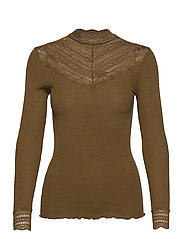 Silk t-shirt regular ls w/wide lace - MILITARY OLIVE