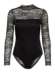 Bodystocking ls w/lace - BLACK