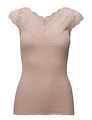 Silk t-shirt regular ss w/wide lace - CREAM TAN