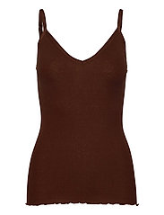 Silk top w/ elastic band reg, lengt - CHOCOLATE FONDANT