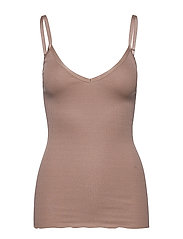 Silk top w/ elastic band reg, lengt - NOUGAT BROWN