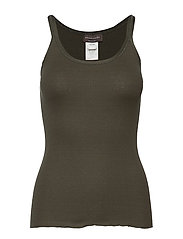 Silk top regular w/elastic band - BLACK GREEN