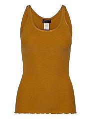 Silk top regular w/elastic band - GOLDEN MUSTARD