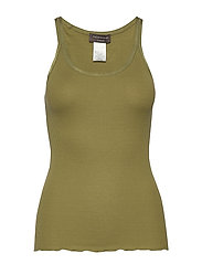 Silk top regular w/elastic band - LEAF GREEN
