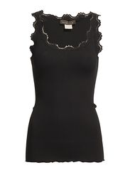 Silk top regular w/vintage lace - BLACK