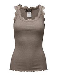 Silk top regular w/vintage lace - BROWN MELANGE
