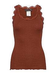 Silk top regular w/vintage lace - AMBER BROWN