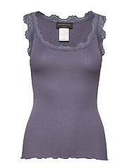 Silk top regular w/vintage lace - BLUE GRANITE