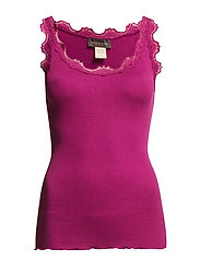 Silk top regular w/vintage lace - BOYSENBERRY