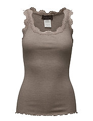 Silk top regular w/vintage lace - BROWN MELANGE