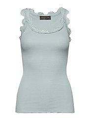 d65e4c20fbd9 Silk top regular w vintage lace - CLOUD BLUE