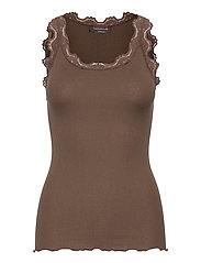 Silk top regular w/vintage lace - DARK BARK