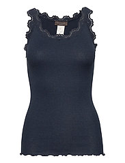 Silk top regular w/vintage lace - DARK NAVY MELANGE
