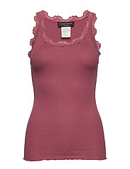Silk top regular w/vintage lace - DEEP ROSE