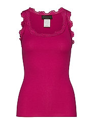 Silk top regular w/vintage lace - FUCHSIA RED