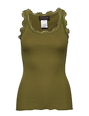 Silk top regular w/vintage lace - LEAF GREEN