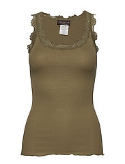 Silk top regular w/vintage lace - MARTINI OLIVE