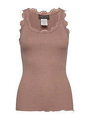 Silk top regular w/vintage lace - NOUGAT BROWN