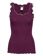 Silk top regular w/vintage lace - POTENT PURPLE