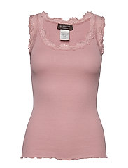 Silk top regular w/vintage lace - POWDER ROSE