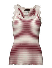 Silk top regular w/vintage lace - ROSE SOFT POWDER STRIPE