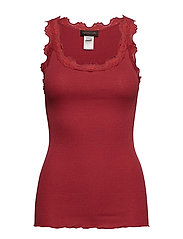 Silk top regular w/vintage lace - SCARLET RED