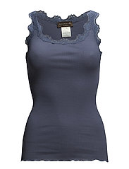 Silk top regular w/vintage lace - TRUE NAVY
