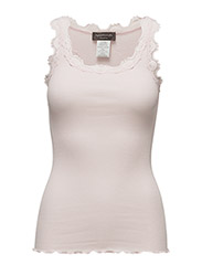 Silk top regular w/vintage lace - SOFT ROSE