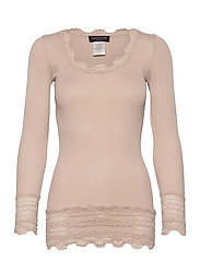 Silk t-shirt medium ls w/wide lace - CACAO
