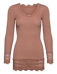 Silk t-shirt medium ls w/wide lace - CAFé AU LAIT