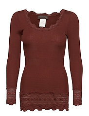 Silk t-shirt medium ls w/wide lace - CHOCOLATE FONDANT