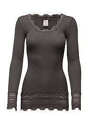 Silk t-shirt medium ls w/wide lace