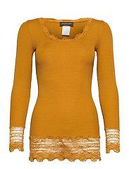 Silk t-shirt medium ls w/wide lace - GOLDEN MUSTARD