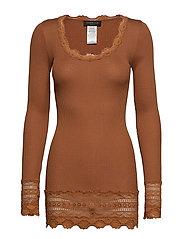 Silk t-shirt medium ls w/wide lace - MOCHA