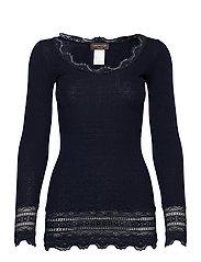 Silk t-shirt medium ls w/wide lace - NAVY