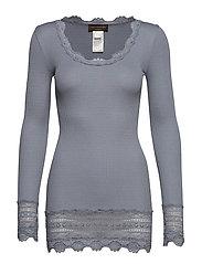 Silk t-shirt medium ls w/wide lace - TRADEWINDS