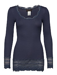 Silk t-shirt medium ls w/wide lace - TRUE NAVY