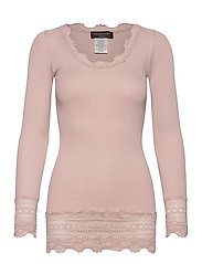 Silk t-shirt medium ls w/wide lace - VINTAGE POWDER
