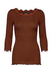 Silk t-shirt boat neck regular w/vi - AMBER BROWN