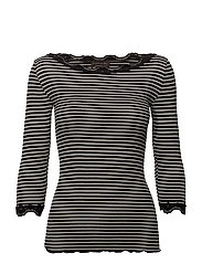Silk t-shirt boat neck regular w/vi - BLACK IVORY STRIPE