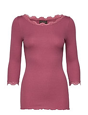Silk t-shirt boat neck regular w/vi - DEEP ROSE