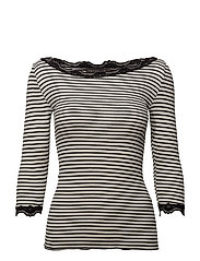 Silk t-shirt boat neck regular w/vi - IVORY BLACK STRIPE