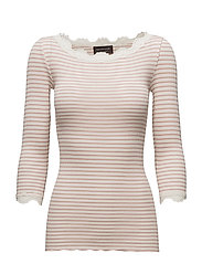 Silk t-shirt boat neck regular w/vintage lace - IVORY MISTY ROSE STRIPE