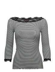 Silk t-shirt boat neck regular w/vi - PURITAN BLACK STRIPE