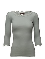 Silk t-shirt boat neck regular w/vintage lace - PURITAN GREY