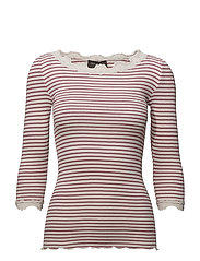 Silk t-shirt boat neck regular w/vi - ROSE SOFT POWDER STRIPE